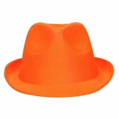 Oranje trilby verkleed hoedje/gleufhoed volwassenen