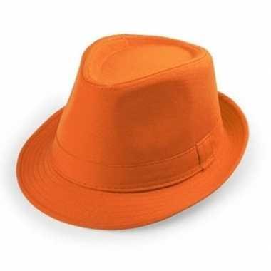 Oranje trilby verkleed hoedje volwassenen