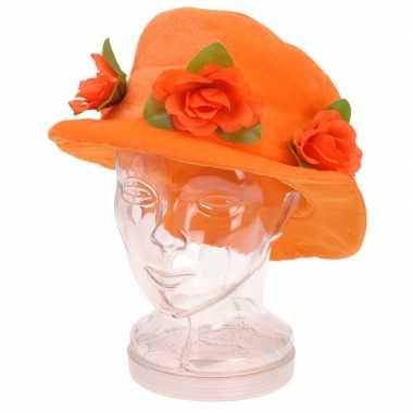 Oranje verkleed hoed rozen dames