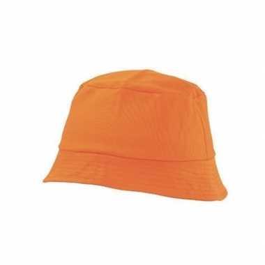 Oranje vissershoedje/zonnehoedje volwassenen