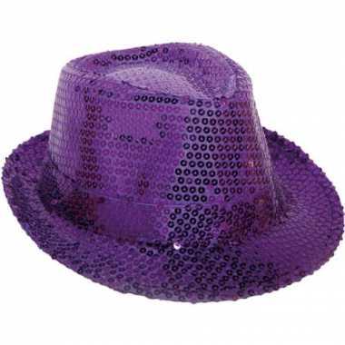 Paarse hoed met pailletten