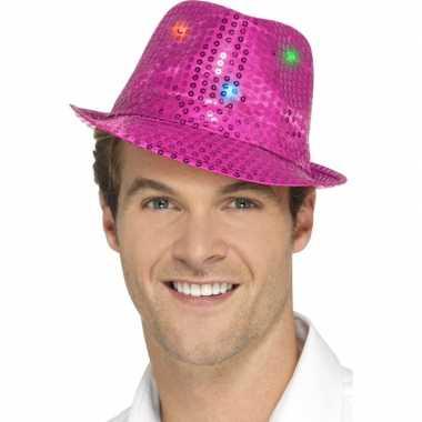 Pailletten hoedje fuchsia roze led lichtjes