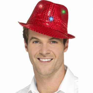 Pailletten hoedje rood led lichtjes
