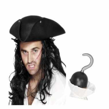 Piraat accessoires verkleedset direhoekige hoed piratenhaak