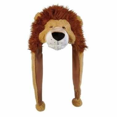 Pluche leeuwen muts flapjes