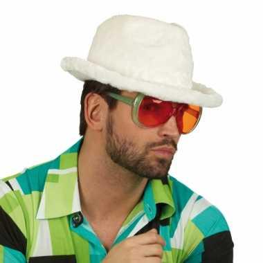 Pluche pooier hoed wit