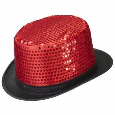Rode hoge hoed met pailletten