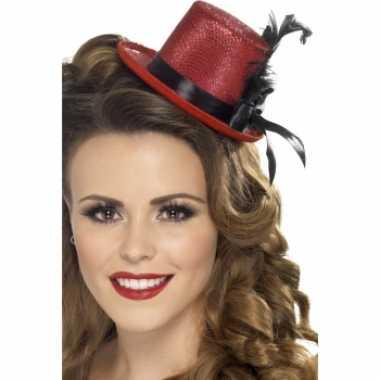 Rode mini hoge hoed veer