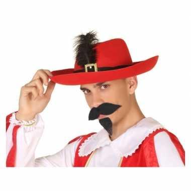 Rode musketier verkleed hoed volwassenen