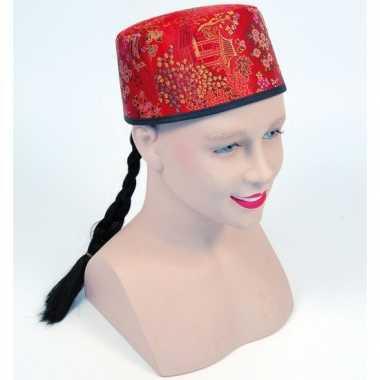 Rood Chinees hoedje vlecht