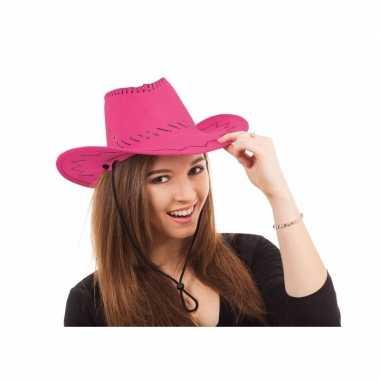 Roze cowboy hoed stiksels