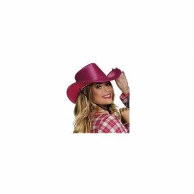 Roze cowboyhoed howdy pailletten volwassenen