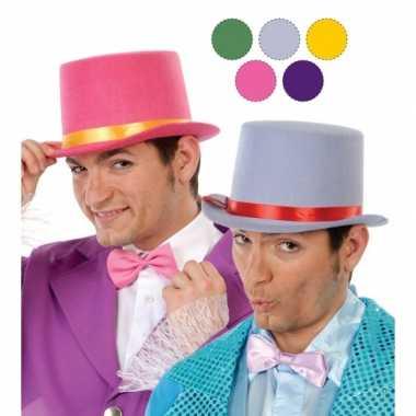 Roze hoge hoed vilt volwassenen