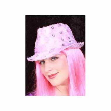 Roze pailletten hoedje voor volwassenen