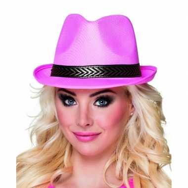 Roze trilby hoed volwassenen