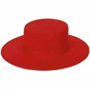 Spaanse hoed rood volwassenen