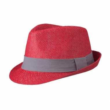 Street style trilby hoedje rood donkergrijs
