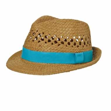 Street style trilby strohoedje turquoise