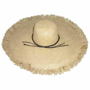 Stro strandhoed/zonnehoed ibiza style saba dames