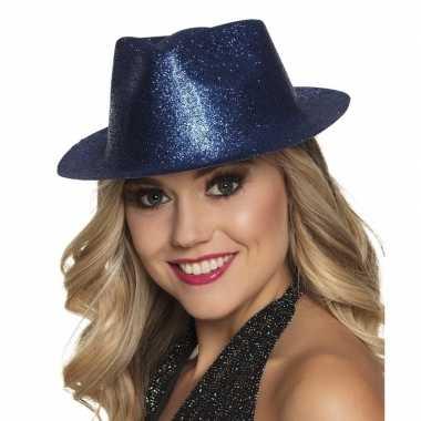 Toppers blauw trilby hoedje glitters dames