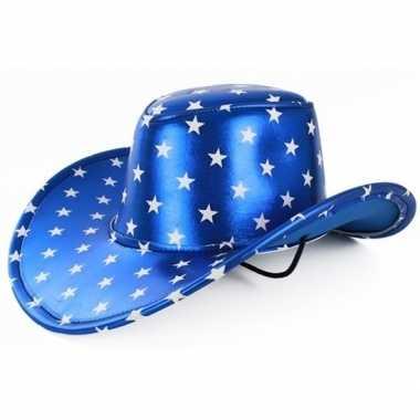 Toppers metallic blauwe cowboyhoed sterren volwassenen