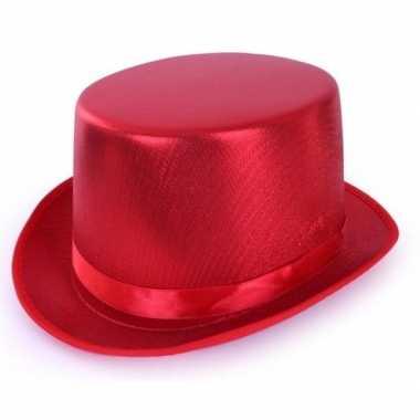 Toppers rode hoge hoed metallic volwassenen