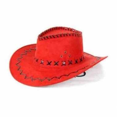 Toppers rode lederlook cowboyhoed volwassenen