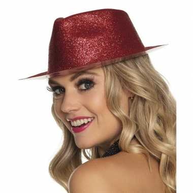 Toppers rood trilby hoedje glitters dames