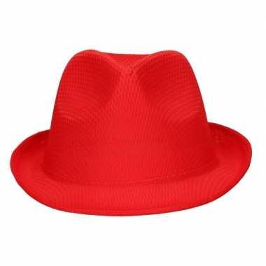 Toppers rood trilby verkleed hoedje/gleufhoed volwassenen