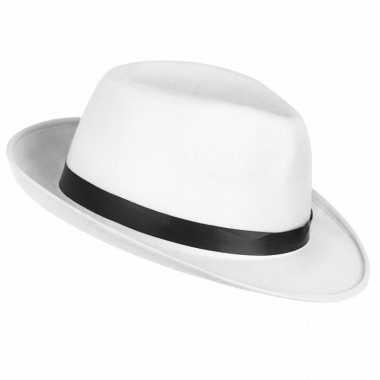 Toppers witte maffia gangster hoed volwassenen