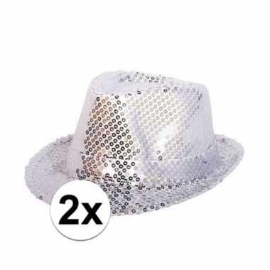 Toppers zilveren trilby glitter party hoedjes pailletten