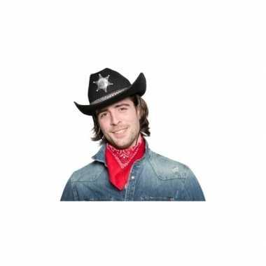 Toppers zwarte cowboyhoed sheriff ster