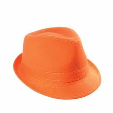 Trendy oranje hoedje 100% katoen
