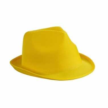 Trilby feesthoed geel volwassenen