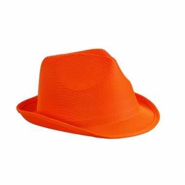 Trilby feesthoed oranje voor volwassenen
