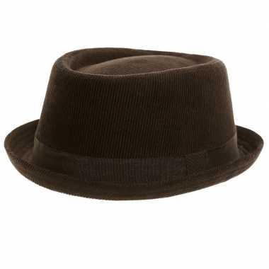 Trilby hoed zwart ribstof volwassenen