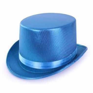 Turquoise blauwe hoge hoed metallic volwassenen