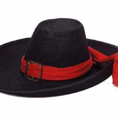 Vilten musketiers hoed zwart