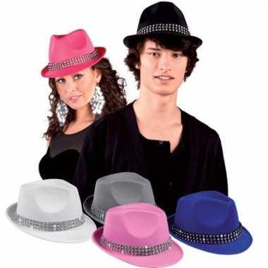 Wit popstar hoedje met diamant studs