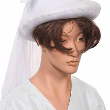 Witte bruidshoed met sluier