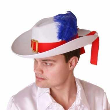 Witte musketier hoed rode band paarse veer
