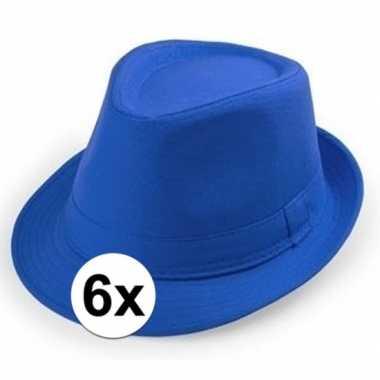 X blauw trilby verkleed hoedjes volwassenen