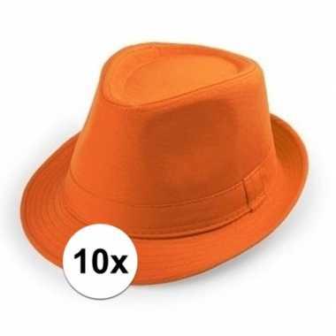 X oranje trilby verkleed hoedjes volwassenen