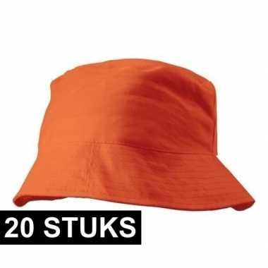 X oranje vissershoedjes/zonnehoedjes volwassenen