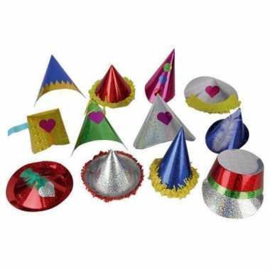 X papieren glitter feesthoedjes kids