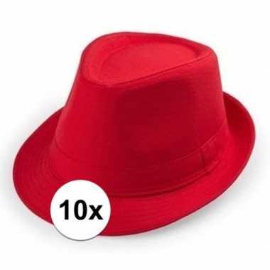 X rood trilby verkleed hoedjes volwassenen 10114687