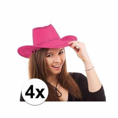 X roze toppers cowboy hoeden stiksels