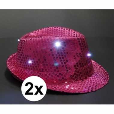 X roze toppers pailletten hoedje led licht