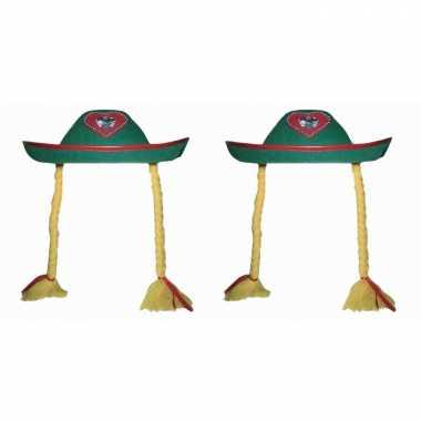 X stuks groen tiroler oktoberfest verkleed hoedje vlechten dames