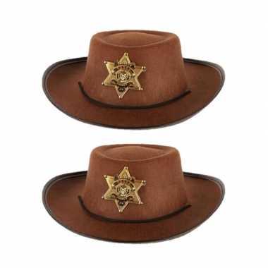 X stuks stoere bruine cowboy hoed kinderen